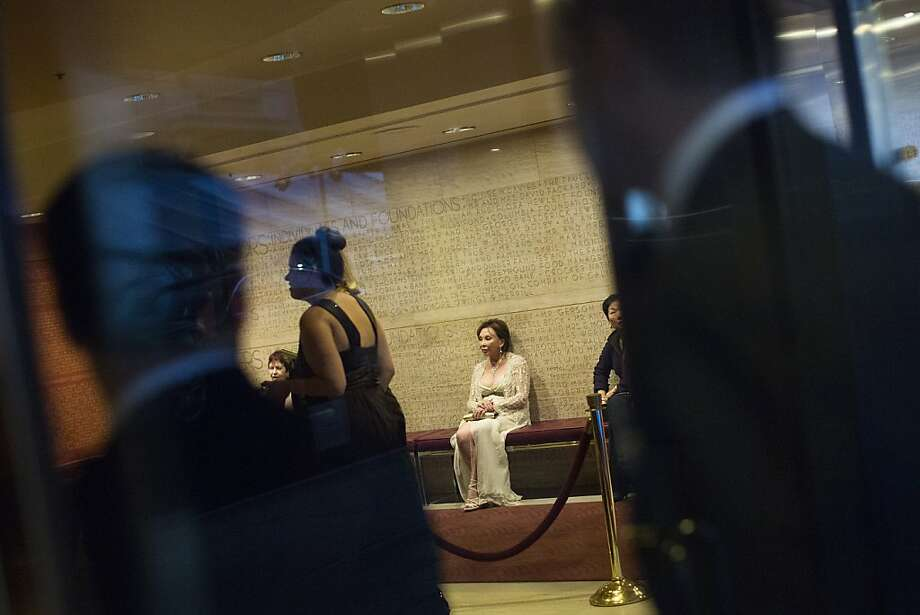 Irene Johannsmeier, of Belvedere, waits for her husband in the lobby during the 102nd Symphony gala opening night at Davies Symphony Hall in San Francisco, Calif. on Tuesday, Sept. 3, 2013. Photo: Stephen Lam, Special To The Chronicle