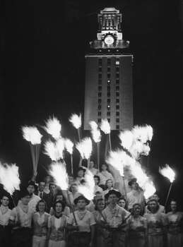 Circa 1940s - Univ. of Texas students having a celebration on campus after a football game.  (Photo by George Strock//Time Life Pictures/Getty Images) Photo: George Strock, Time & Life Pictures/Getty Image / Time Life Pictures