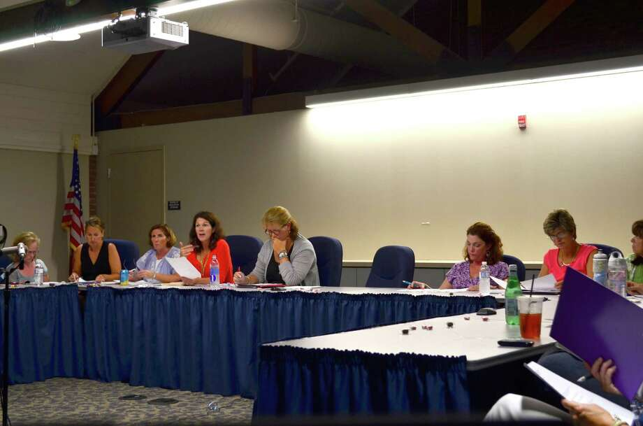 Special Education Parent Advisory Committee co-chair Courtney Darby, pictured fourth from left, addressed the Board of Education and Superintendent Stephen Falcone who are not pictured at SEPAC's Wednesday, Aug. 28 meeting. Photo: Megan Spicer