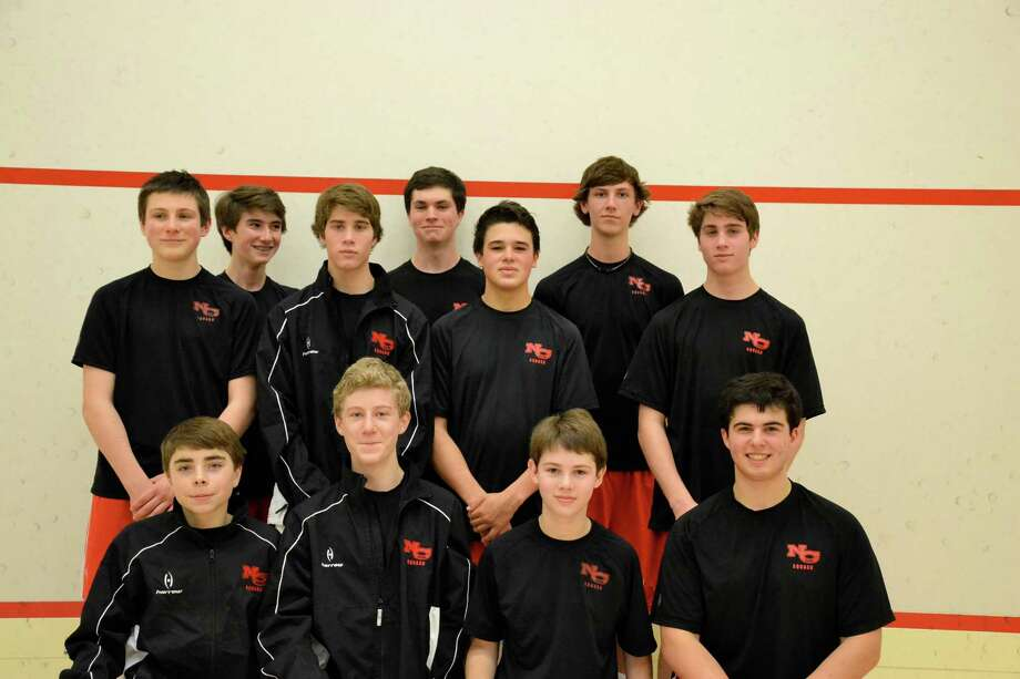 Members of the New Canaan High School squash team pose for a picture. Photo: Contributed Photo