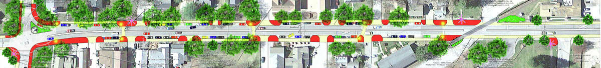 Above is an artist's rendition of a preliminary concept plan for a portion of the Kent Streetscape project. The intersection of routes 7 and 341 is to the left. September 2013 Courtesy of Milone & MacBroom