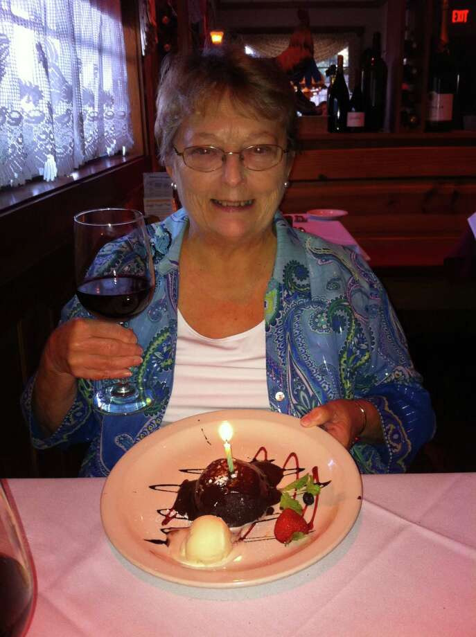 Judy Mood enjoys her anniversary dinner at Bisto Le Cep. Photo: Courtesy Photo