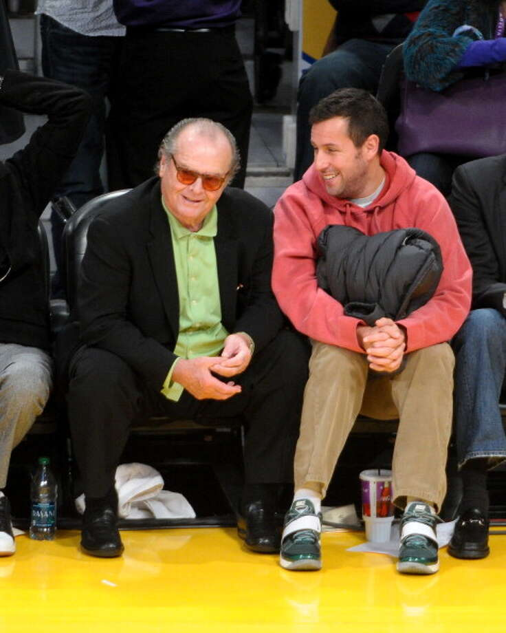 Jack Nicholson (L) and Adam Sandler attend a basketball game between the Oklahoma City Thunder and the Los Angeles Lakers at Staples Center on January 11, 2013 in Los Angeles, California.  (Photo by Noel Vasquez/Getty Images) Photo: Noel Vasquez, Getty Images / 2013 Noel Vasquez