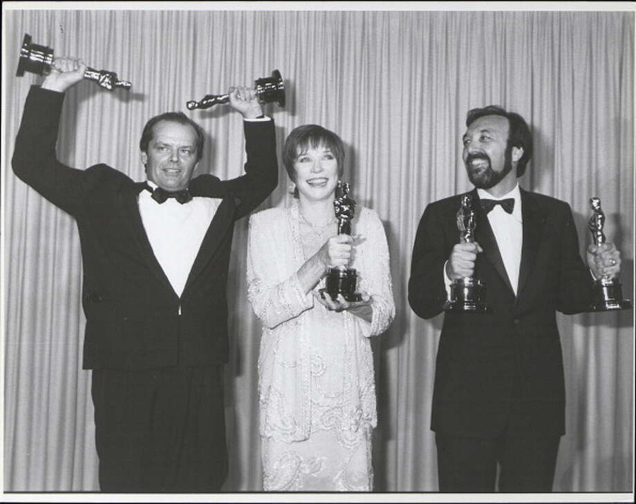 Jack Nicholson, Shirley MacLaine, and James L. Brooks, winners for 'Terms of Endearment' at the Academy Awards, April 9, 1984.  (Photo by Time & Life Pictures/Getty Images) Photo: Time & Life Pictures, Time Life Pictures/Getty Images / Time & Life Pictures