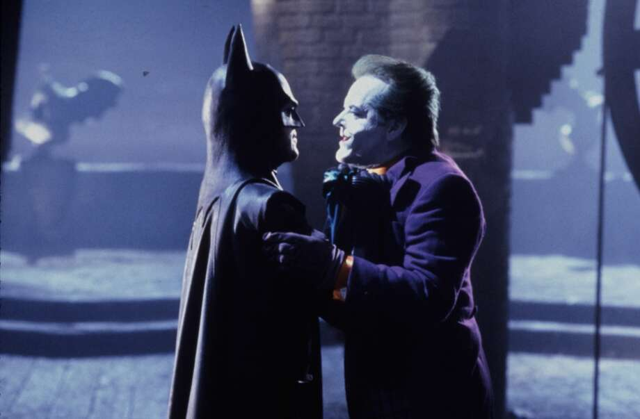 "Michael Keaton as Batman and Jack Nicholson as Joker in 1989's ""Batman."""