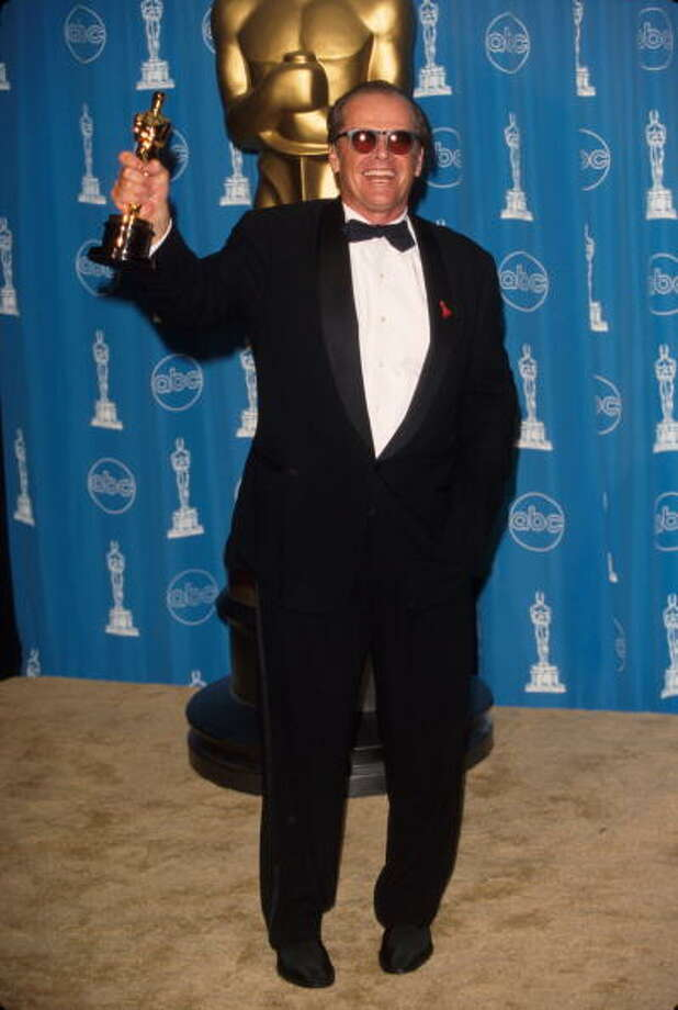 Actor Jack Nicholson holding up his Oscar in Press Room at Academy Awards.  (Photo by Mirek Towski/DMI/Time Life Pictures/Getty Images) Photo: Mirek Towski, Time & Life Pictures/Getty Image / Time Life Pictures