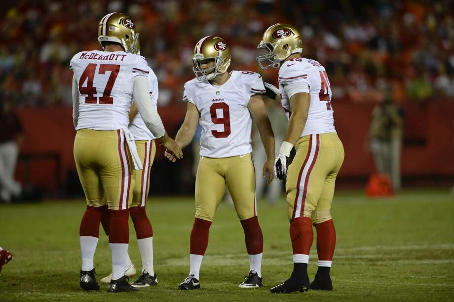 5. Kicker Phil Dawson almost guarantees the 49ers will score more points than last season. The former Cleveland kicker hit field goals of 50, 55 and 55 yards again during the preseason and he's used to kicking on soggy fields and in bad weather. Remember, he came from Cleveland. Dawson replaces the struggling David Akers who had the second-worst field goal percentage in the league last year. Photo: Reed Hoffmann, Associated Press