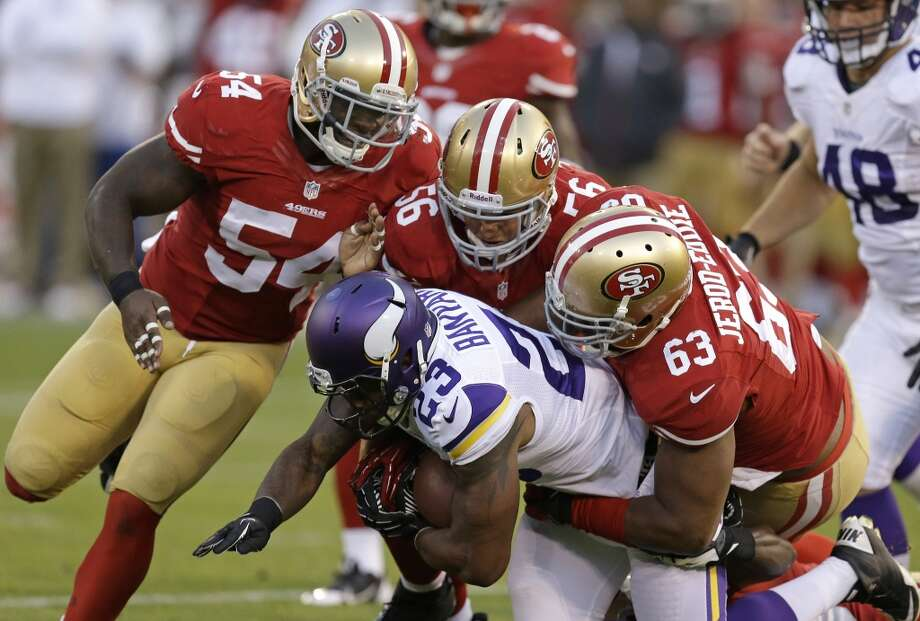 1. The 49ers defense appears to be back. A team that allowed just over two touchdowns a game for most of 2012 collapsed towards the end of the season. From mid-December through the Super Bowl last year, the defense's points allowed per game doubled to an average of four touchdowns. Throughout the preseason, though, the 49ers were back to their dominating ways. Even the second-team defense kept first team offenses stifled. Photo: Ben Margot, Associated Press
