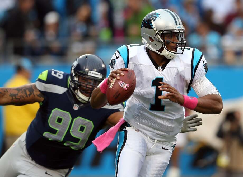 On playing against Panthers QB Cam Newton:  ''Well, he really taxes you as much as a quarterback could do it, because he's a terrific quarterback in the pocket, his presence is good, he can make all of the throws, he can do all of that stuff. He's as dangerous as you can get when he takes off and runs out of that stuff and all the basic stuff. But then they add all of the running game along with it. They have in the past (used) all of the running game that goes along with that, that utilizes the quarterback. Not just the QB-read stuff that you guys have been following and reading so much about, but he runs as a power sometimes in critical situations.  ''He gives you as many problems as the quarterback position can give you. So we just have to try to tackle him well, we have to manage our rush lanes, we have to scheme properly -- because (running back) DeAngelo (Williams) just rips with the ball when he's carrying it, too. So it just poses all of the problems that you could possibly face and they have skill guys all across the board that can make things happen.  ''So what do we have to do? Everything. We have to do everything right. This is not easy. This is as difficult of a plan that we have put together. That's why we have been working on it for so long.'' Photo: Streeter Lecka, Getty Images
