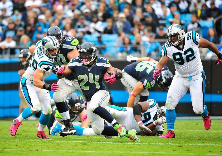 On the challenge posed by Carolina's defensive tackles:''They're active, you know, and the whole front is really good. Charles Johnson is a terrific football player and he makes a lot of things happen, too. The whole group is good. Star Lotulelei has done a nice job. He's looked active and physical and he's had a good presence about him, and I think we'll see him as the starter.'' Photo: Grant Halverson, Getty Images