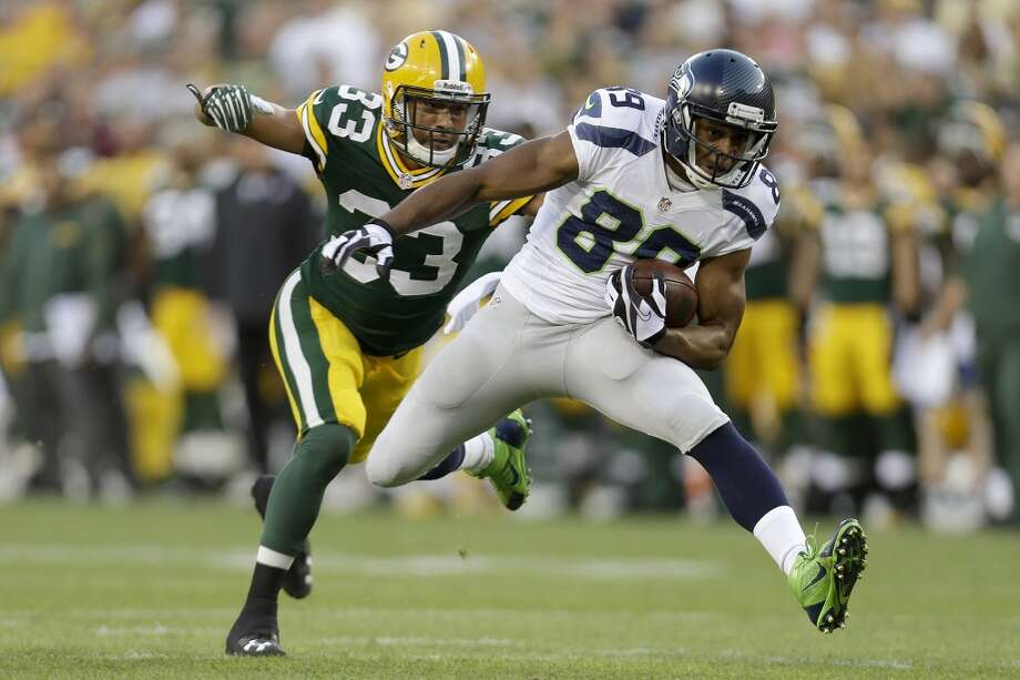 On WR Doug Baldwin's preseason performance:  ''A year ago, in the OTA season and in the preseason, Doug really, really pressed. He wanted to do everything that he could possibly think of coming off of his first year. He wasn't himself. He's back and he has been somewhere -- once the season got under way, he was fine. It was just because he was a great competitor. He wanted to do everything possible, set everything and break everything as a first-year free agent three years ago now.   ''He's on. He's on his game. He's great. He's physically in great shape and he's tuned in, and all of his great competitiveness is coming out in his place. He's ready to go into this season.'' Photo: Mike McGinnis, Getty Images