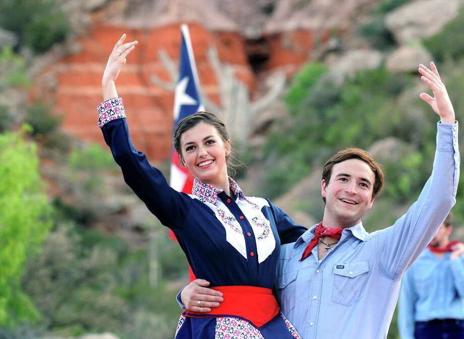 """Texas"" cast members Alexia Valente and Clint Diaz rehearse in May at the Pioneer Amphitheatre in Palo Duro Canyon, Texas. (AP Photo/Amarillo Globe-News, Sean Steffen) Photo: Sean Steffen, Associated Press / Amarillo Globe-News"