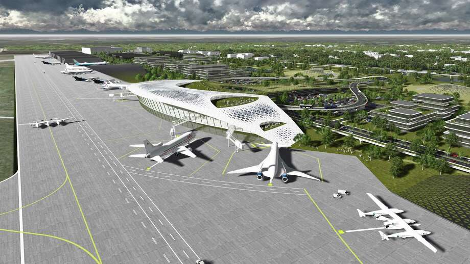 This rendering of proposed spaceport at Ellington Airport depicts aircraft as well as commercial spacecraft. Photo: Houston Airport System / Houston Airport System