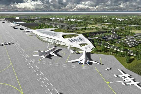 This rendering of proposed spaceport at Ellington Airport depicts aircraft as well as commercial spacecraft.