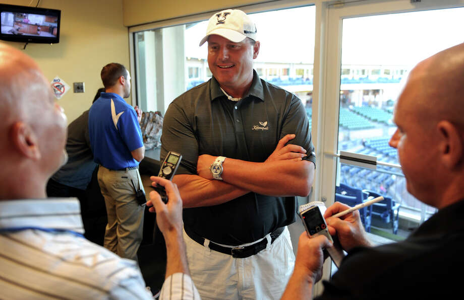 Pitching great Roger Clemens speaks to the media before Bluefish game action against the Sugar Land Skeeters at the Ballpark at Harbor Yard in Bridgeport, Conn. on Wednesday September 4, 2013. Clemons son Koby is the catcher on the opposing team, the Sugar Land Skeeters. Photo: Christian Abraham / Connecticut Post