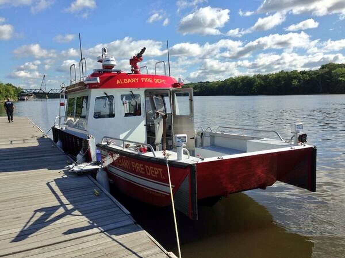The Albany Fire Department on Wednesday, Sept. 4, 2013, launched a new fire boat to use for emergencies on the Hudson River. (Skip Dickstein / Times Union)