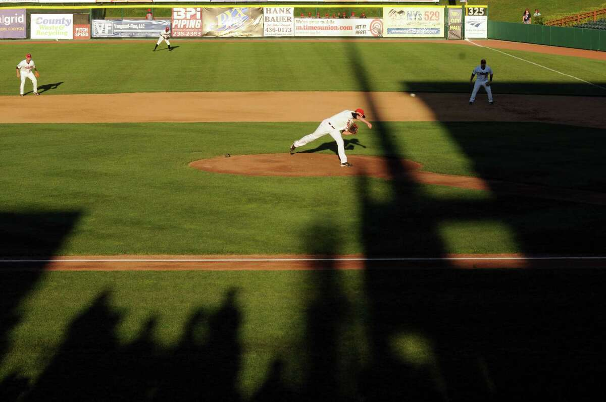 ValleyCat Troy Scribner deals a pitch during their baseball game against Brooklyn at Joe Bruno Stadium on Wednesday Sept.4, 2013 in Troy, N.Y. (Michael P. Farrell/Times Union)
