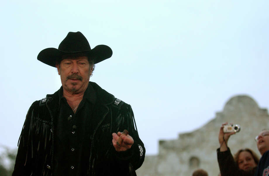 Kinky Friedman pauses while on a break during his announcement on MSNBC's Don Imus show that he is entering the race as an independent candidate for Governor of Texas in front of the Alamo in San Antonio on Feb. 3, 2005. Photo: LISA KRANTZ, San Antonio Express-News / SAN ANTONIO EXPRESS-NEWS