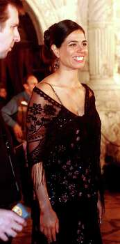"""Estephania LeBaron, who plays Juana in """"The Alamo,"""" leaves the historic Alamo after a tour on March 27, 2004, at the Disney Premiere After Party in San Antonio. Photo: Jill Torrance, Getty Images / 2004 Getty Images"""