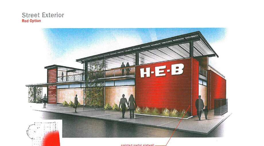 This is how the proposed 6,000- to 8,000-square-foot H-E-B outlet at South Flores Street and East César E. Chávez Boulevard could look. Photo: Courtesy Illustration