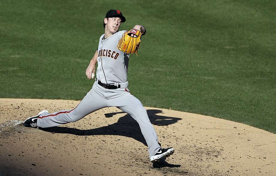 San Francisco Giants starting pitcher Tim Lincecum delivers to a San Diego Padres batter during the second inning in a baseball game on Wednesday, Sept. 4, 2013, in San Diego. (AP Photo/Gregory Bull) Photo: Gregory Bull, Associated Press