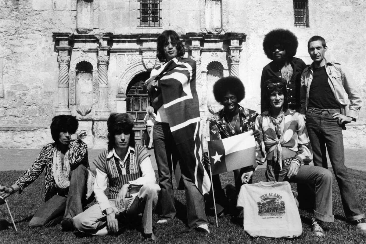 The Rolling Stones - Keith Richards (from left), Bill Wyman, Mick Jagger, Ollie Brown, Ron Wood, Billy Preston and Charlie Wattts - pose for a group portrait at the Alamo on May 31, 1975.