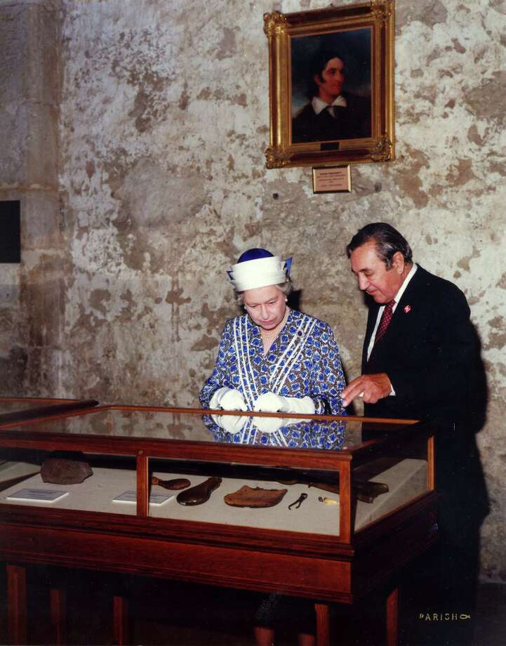 Henry Guerra and Queen Elizabeth II are seen at the Alamo in this undated photo. Photo: Courtesy Photo
