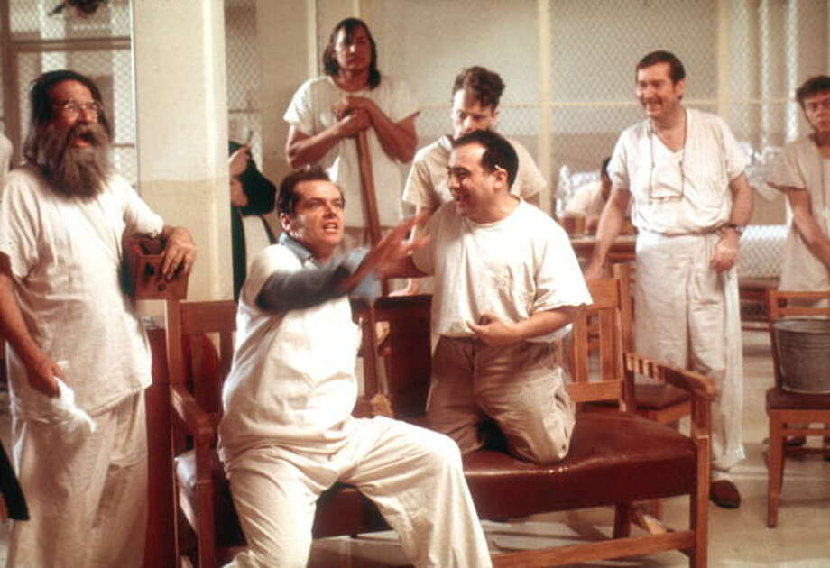 "Actors Jack Nicholson, Danny Devito and Brad Dourif perform in scene from movie ""One Flew Over The Cuckoo's Nest"" directed by Milos Foreman.   (Photo by Michael Ochs Archives/Getty Images)  Winner of five Academy Awards Photo: Michael Ochs Archives, Getty Images / Moviepix"