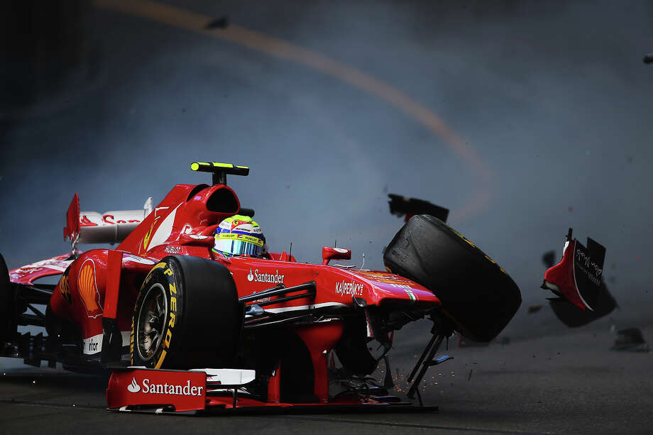 Felipe Massa of Brazil and Ferrari crashes at St Devoteduring the final practice session prior to qualifying for Grand Prix at the Circuit de Monaco on May 25, 2013 in Monte-Carlo, Monaco. Photo: Bryn Lennon, Getty Images / 2013 Getty Images