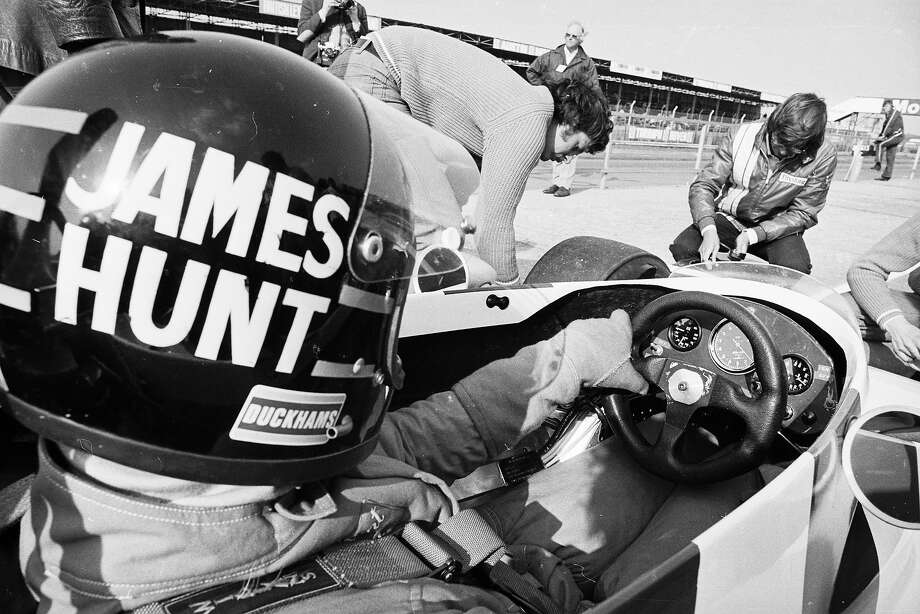 Hunt at the wheel of his car at Silverstone. Photo: Victor Blackman, Getty Images / Hulton Archive