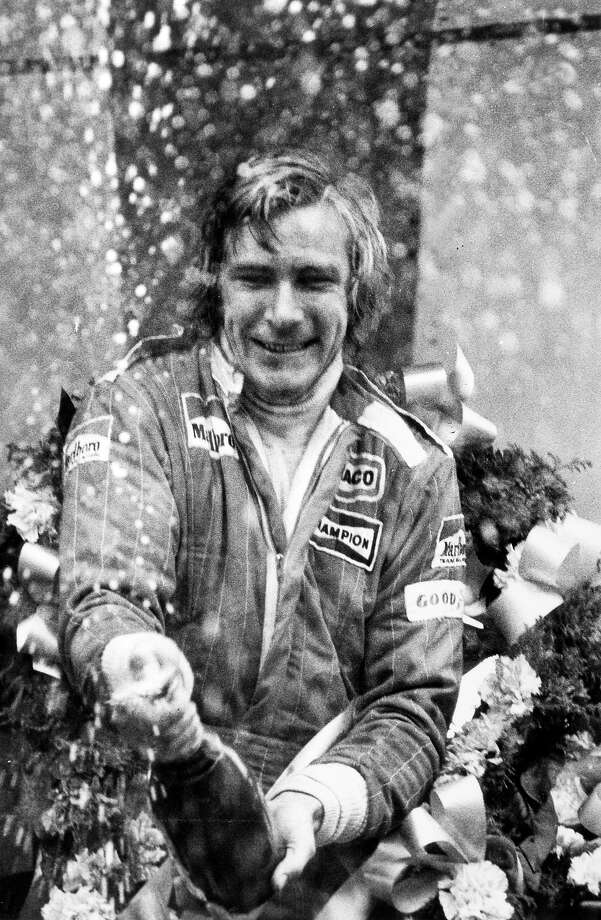 James Hunt celebrates winning the Formula One World Champion in 1976. Photo: Rolls Press/Popperfoto, Popperfoto/Getty Images / Popperfoto