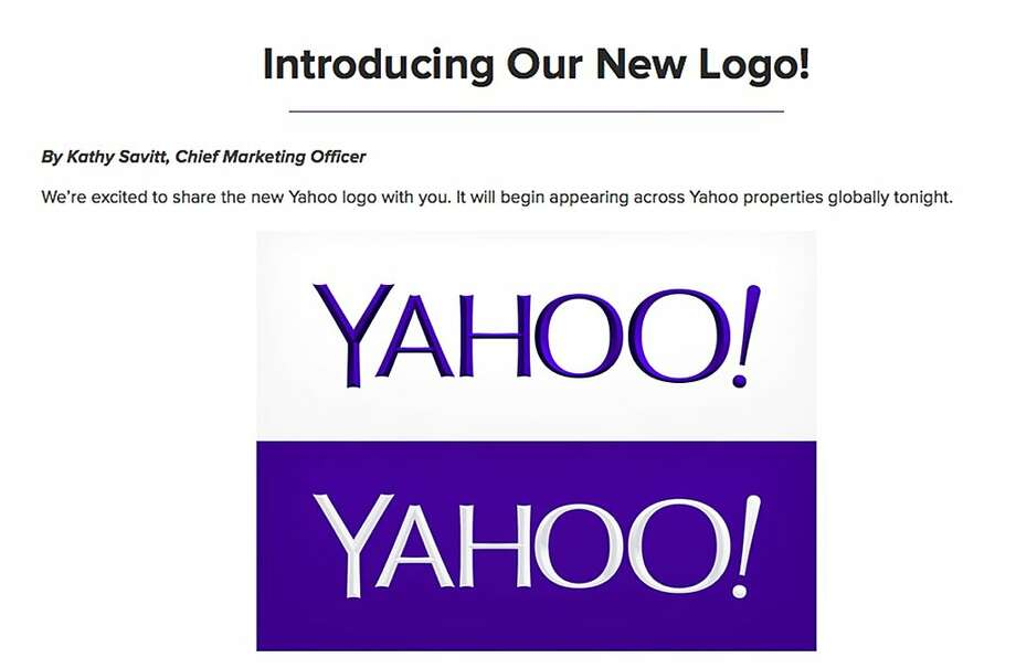 This screen grab from Yahoo Inc.'s Tumblr site shows the no-nonsense, minimalist new logo. It's the first redesign for the Sunnyvale company's logo in 18 years. Photo: Uncredited, Associated Press