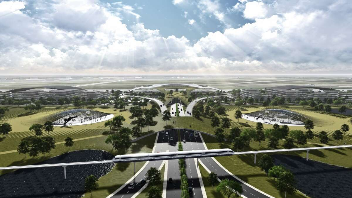 This rendering shows a proposed spaceport for Ellington Airport in Houston.