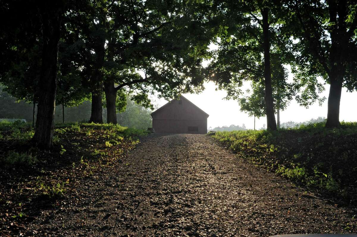 Driveway leading up to Peter Brooks's barn on Tuesday, June 25, 2013 in Malta, N.Y. Wood has been installed in the 200-year-old barn which is being put together with original materials. (Lori Van Buren / Times Union)