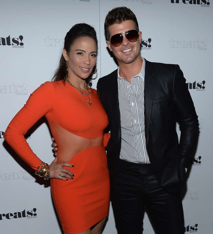 "Paula Patton and Robin Thicke attend Robin Thicke ""Blurred Lines"" Record Release Party at No. 8 on September 4, 2013 in New York City.  (Photo by Dimitrios Kambouris/Getty Images) Photo: Dimitrios Kambouris, Getty Images"