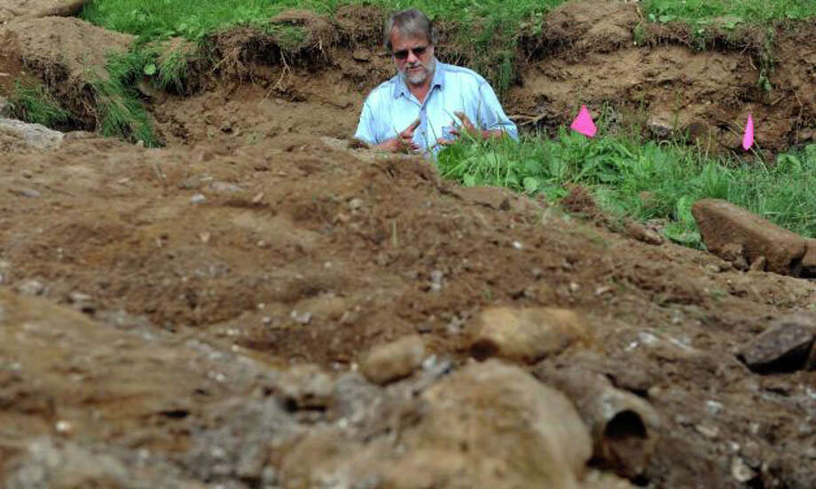 Ernie Wiegand, archaeology proessor at Norwalk Community College, in July gave a tour of a dig site at the 1780s Daniel Sherwood Homestead within Sherwood Island State Park in Westport. The park, which is 100 years old this years, is the oldest in the state park system. Photo: File Photo / Westport News