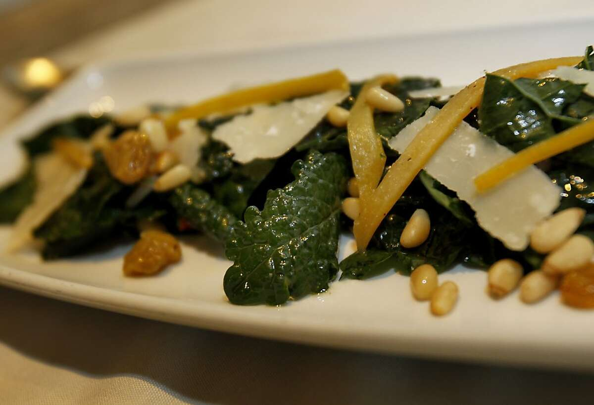 A kale salad from the garden Monday August 19, 2013. Poggio chef Ben Balesteri works from a restaurant garden located on a hillside above the popular Sausalito, Calif. restaurant.