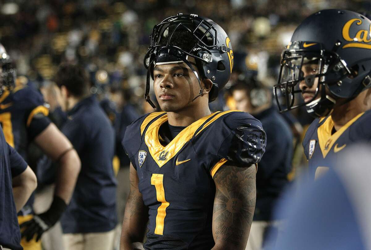 Cal's Bryce Treggs, (1) watches from the sidelines as the final seconds tick away in the fourth quarter, as the Cal Berkeley Golden Bears went on to lose to Northwestern Wildcats 44-30 at Memorial stadium in Berkeley , Calif. on Saturday August 31, 2013.