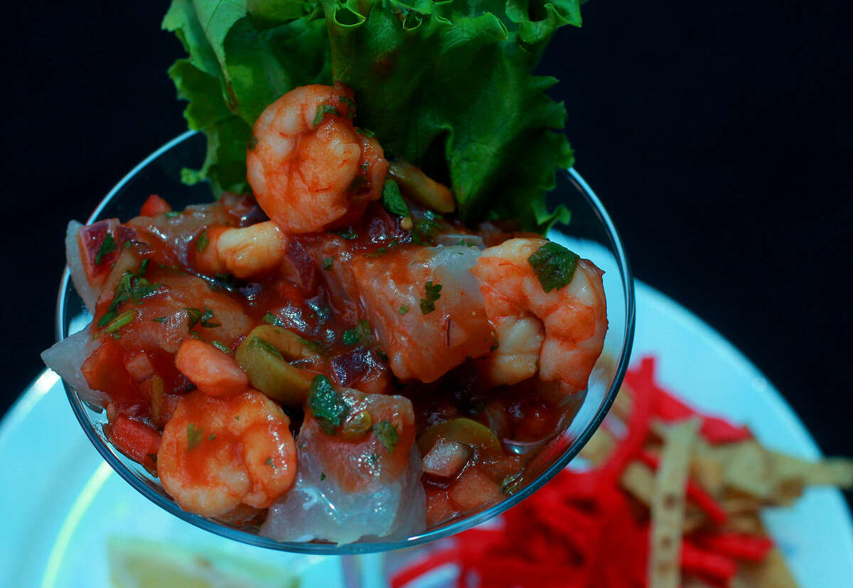 An appetizer of ceviche is packed with shrimp, fish and other goodies. It's served only on weekends.