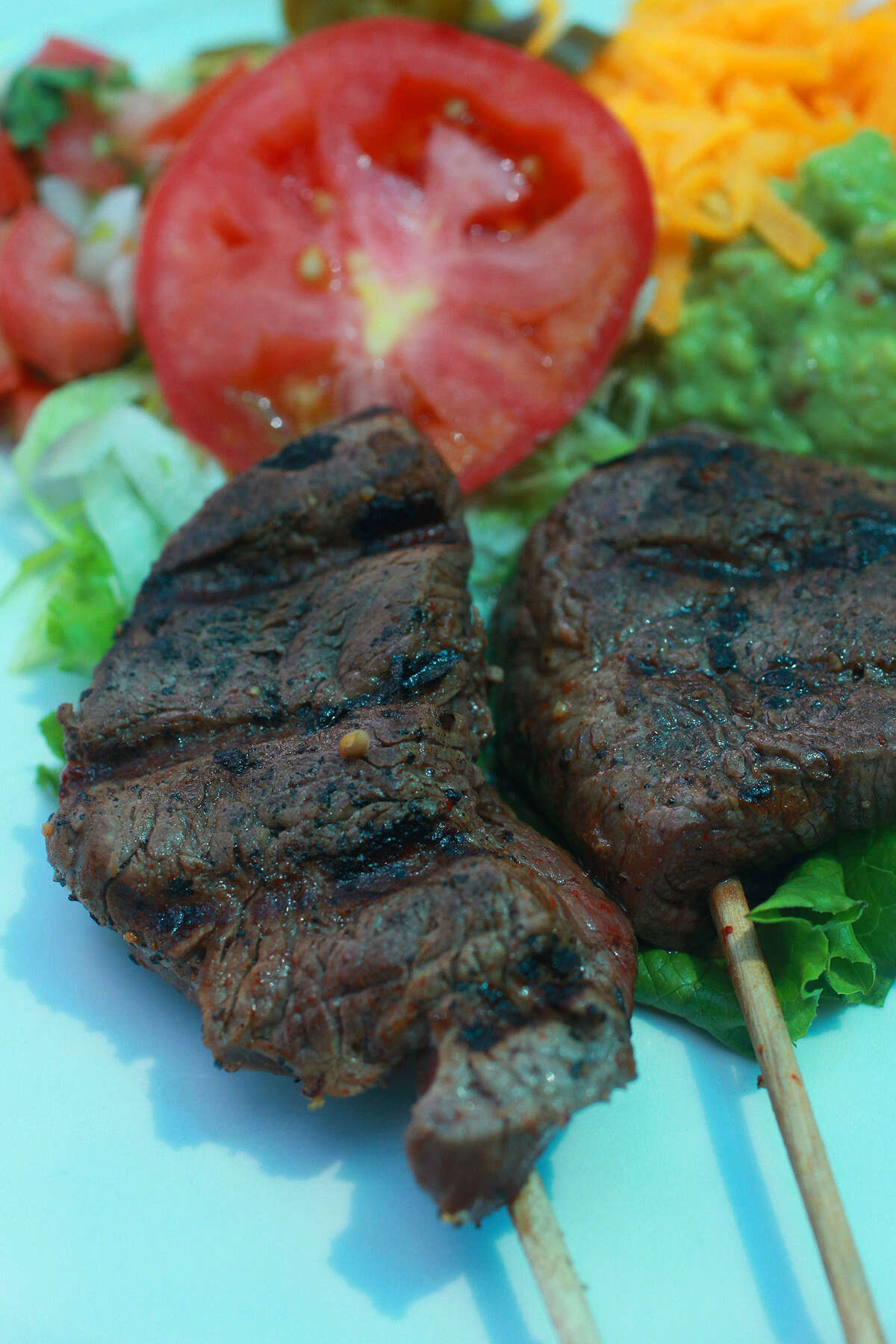 Celebrate Fiesta all year long with an order of tender and flavorful beef anticuchos.