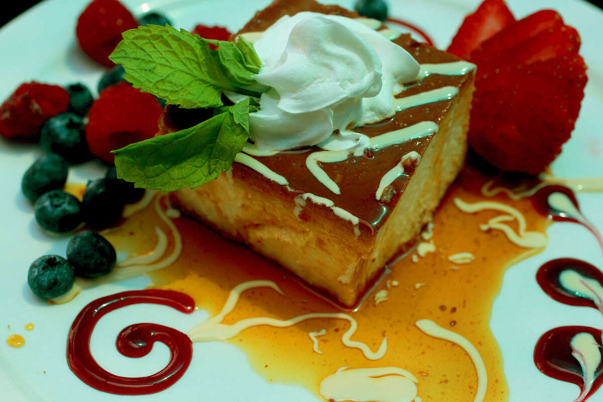 The version of flan incorporates cream cheese for a taste and texture reminiscent of cheesecake.