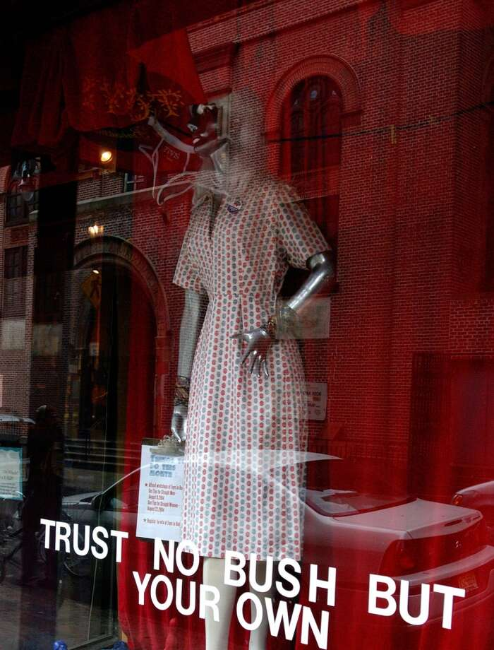 Babeland stores are known for their funny, witty window displays. This is from Babeland's store in Soho in New York City, possibly when George W. Bush was running for president. Photo: Lonely Planet/Getty Images, Getty Images/Lonely Planet Image
