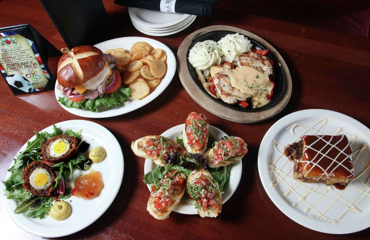 British and American munchies share space at the Lion & Rose. Shown (from left) are: Scotch eggs, roast beef sandwich, bruschetta, Lamplighter Chicken and sticky toffee pudding.The original Lion & Rose on Broadway is ending day-to-day pub and restaurant service to become a special events venue.