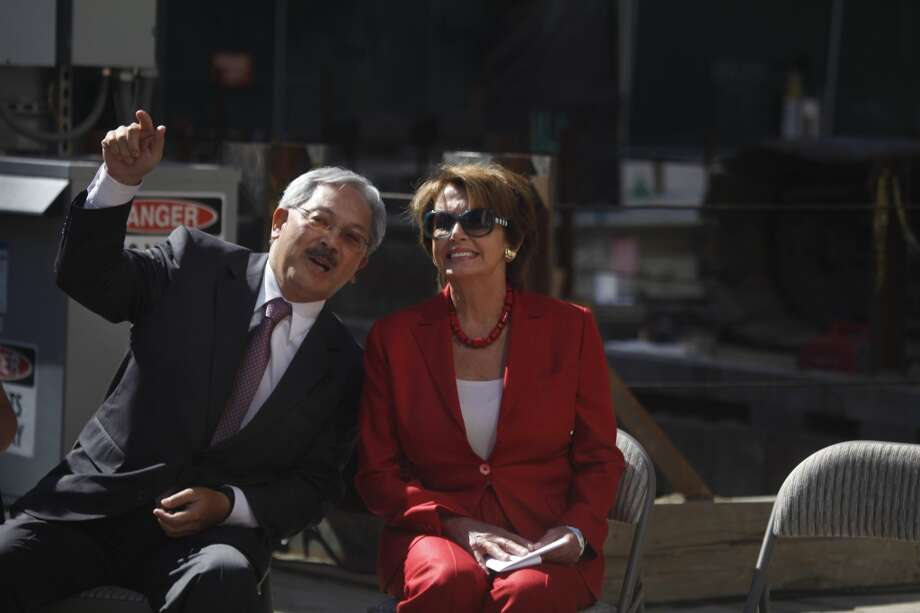San Francisco Mayor Ed Lee (l to r) and House Democratic Leader Nancy Pelos talk during the Transbay Transit Center Milestone Foundation Pour event on Thursday, September 5, 2013 in San Francisco, Calif. Photo: The Chronicle