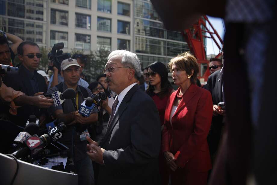 San Francisco Mayor Ed Lee (l to r) and House Democratic Leader Nancy Pelosi answer questions from the media after the Transbay Transit Center Milestone Foundation Pour event on Thursday, September 5, 2013 in San Francisco, Calif. Photo: The Chronicle