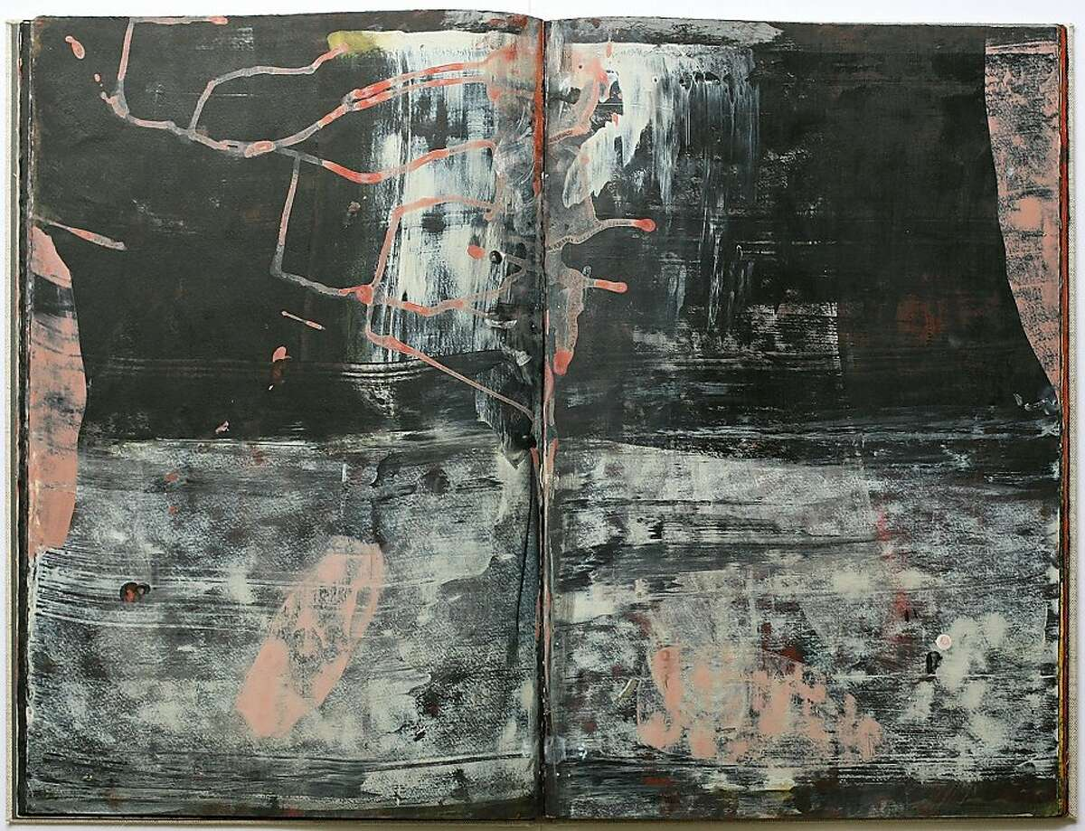 """Pages from """"Beneath Krakatoa"""" (2004), a hand-painted book by Ward Schumaker each page size: 20"""" x 13"""" the book is 64 pages, plus cover."""