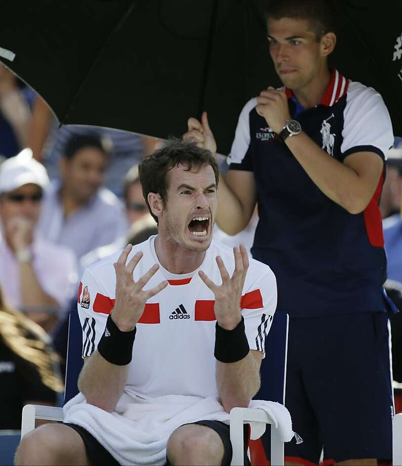 Andy Murray, of Great Britain, reacts during a break between sets after losing the first two sets to Stanislas Wawrinka, of Switzerland, during the quarterfinals of the 2013 U.S. Open tennis tournament, Thursday, Sept. 5, 2013, in New York. (AP Photo/David Goldman) Photo: David Goldman, Associated Press