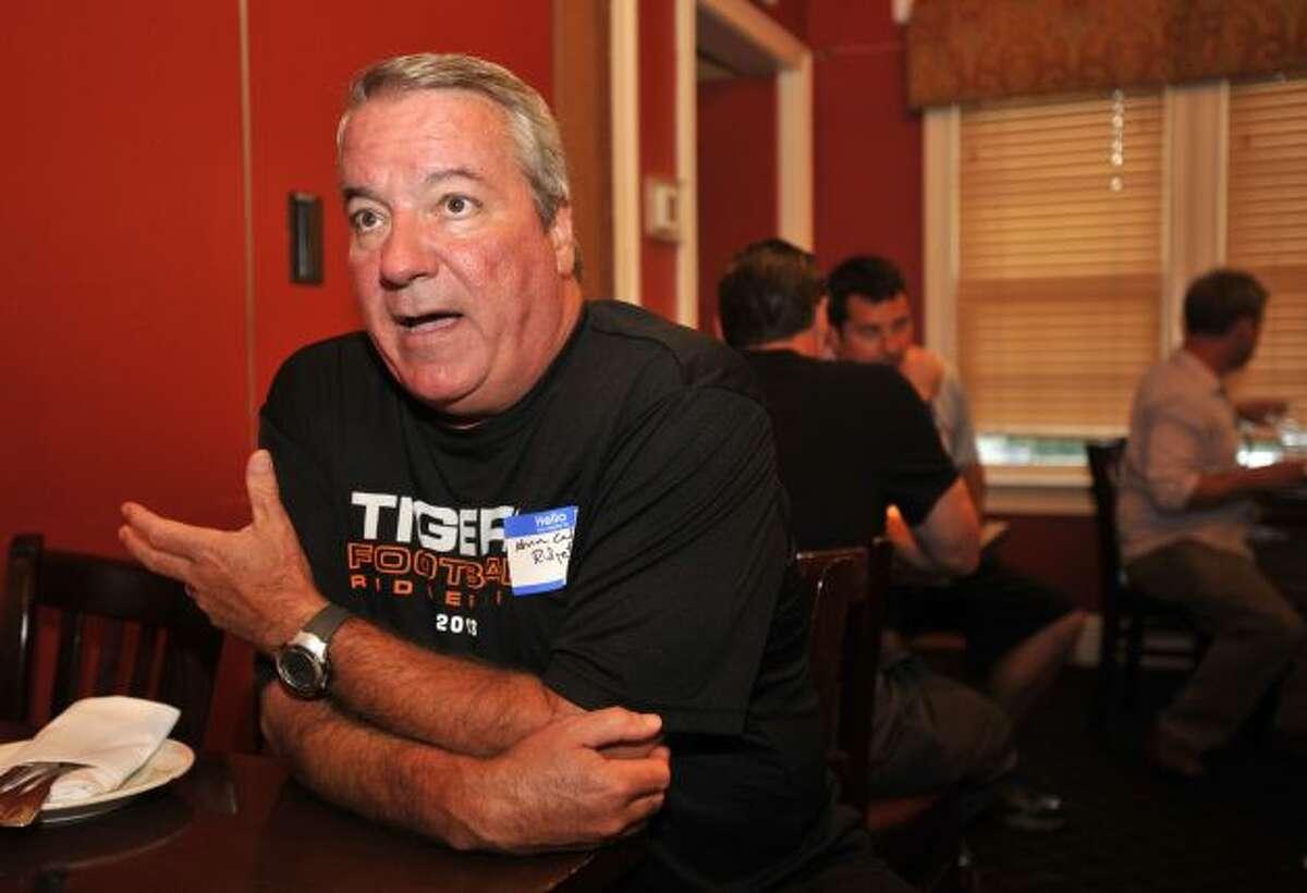 Ridgefield Coach Kevin Callahan sits down to talk with me at FCIAC Media Night.Jason Rearick/Staff photo