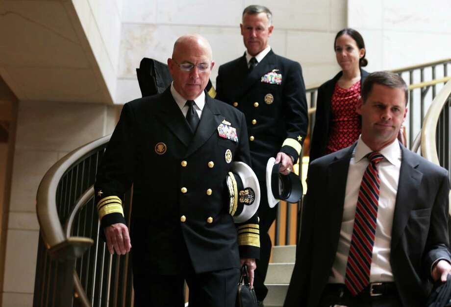 Vice Adm. Kurt Tidd (left), director of Operations of the Joint Staff, arrives for a closed briefing on what to do about Syria -- a decision Congress seems eager to avoid. Photo: Alex Wong, Getty Images / 2013 Getty Images