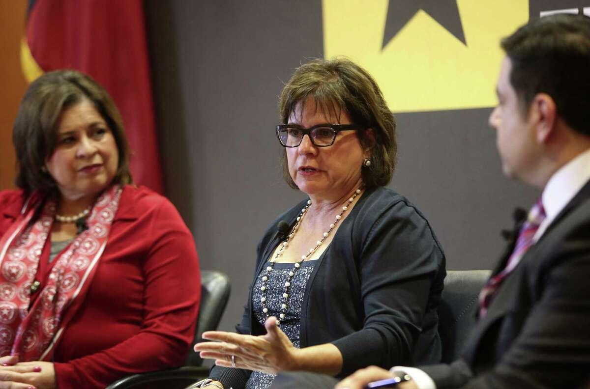 Sen. Leticia Van de Putte (from left), Dr. Amelie Ramirez of UTHSC and Dr. Esteban López of Blue Cross Blue Shield of Texas at the health forum.